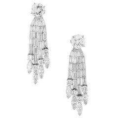 6.74 Carat Diamond Platinum Dangle Drop Earrings