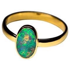 Black Opal 18K Yellow Gold Ring Flickering Stone Starfall X Men Style Minimalism