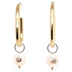 Yellow Gold Hoop Pearl Charm Earring