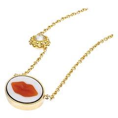 AnaKatrina Brazilian Red Agate, 18 Karat Gold, Diamond Cameo Charm 'Lip' Pendant
