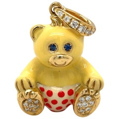 Cellini Exclusive 18Kt Yellow Gold .16Ct Diamond Enamel Boy Teddy Bear Charm