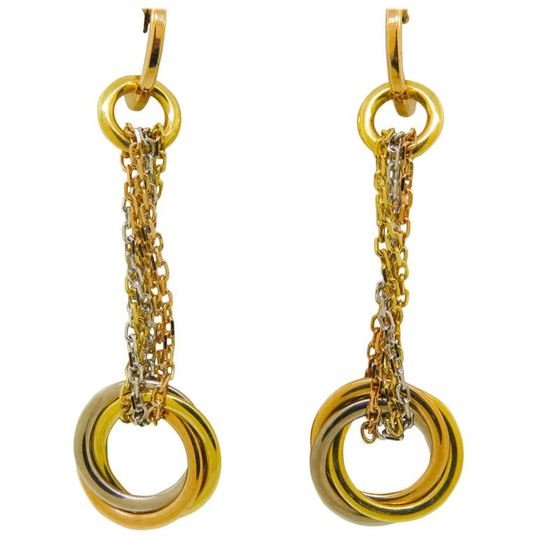 Cartier Trinity Gold Drop Earrings For Sale