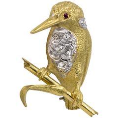 Kingfisher Bird Diamond and Ruby Brooch