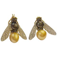 Pearl Gold and Precious Stones Earrings