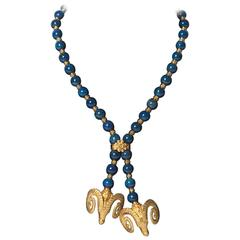 Zolotas Lapis Bead Gold Ram's Head Necklace