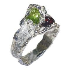 Paul Amey Garnet and Peridot Silver Ring