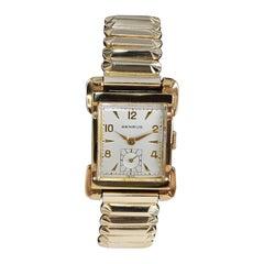Benrus Gold Filled Art Deco Style Wristwatch Matching Period Bracelet c. 1950s