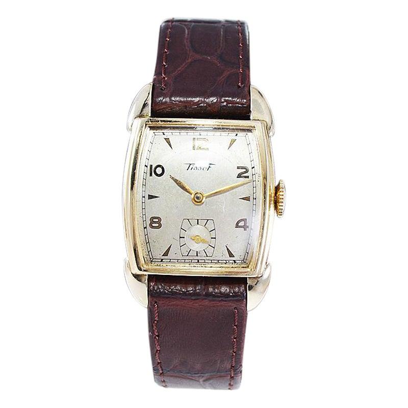 Tissot Yellow Gold Filled Art Deco Tonneau Shaped Watch, Circa 1940's