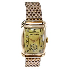 Bulova Gold Filled Art Deco Watch with Original Bracelet, Circa 1940's