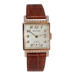 Waltham Rose Gold Filled Art Deco Tank Style Wristwatch with Original Dial 1940s