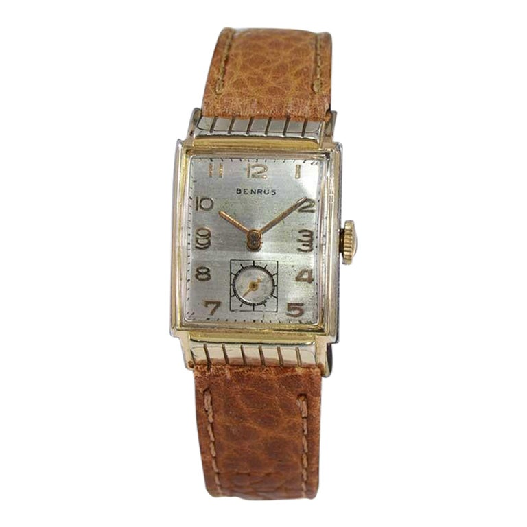 Benrus Art Deco Tank Style Wrist Watch with Original Dial, Circa 1940's For Sale