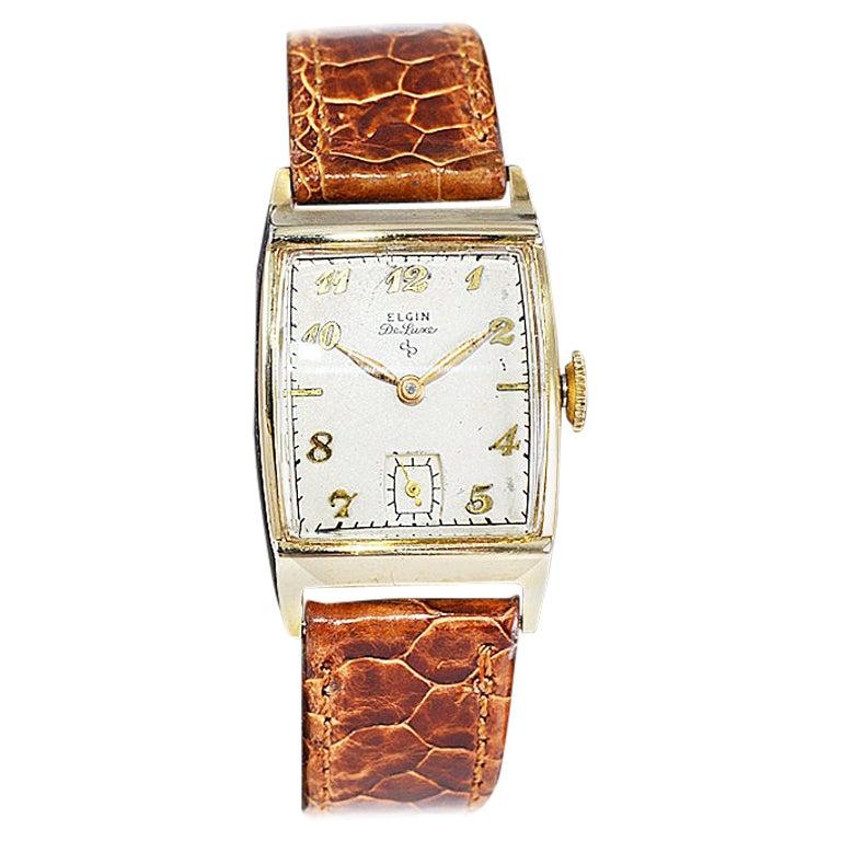 Elgin Gold Filled Art Deco Tonneau Shaped Wristwatch, Circa 1940's