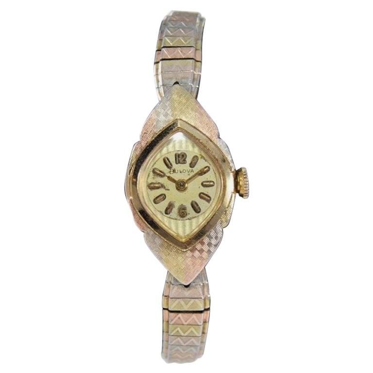 Bulova Mid Century Vintage Ladies 3 Tone Gold Filled Watch All Original, 1960's
