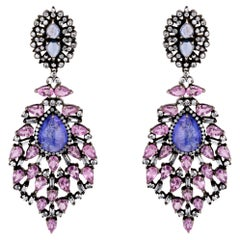 Pink and Blue Sapphire Victorian Dangle Earrings with Diamonds