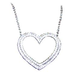 Tiffany & Co. Diamond Platinum Heart Motif Pendant