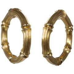"Cartier Large Gold ""Bamboo"" Hoop Motif Earrings"