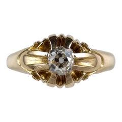 15 Carat Yellow Gold 0.60 Carat Diamond Gypsy Ring