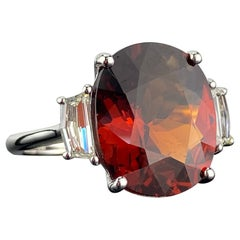 Certified 11.11 Carat Mandarin Garnet and Diamond Three Stone Engagement Ring