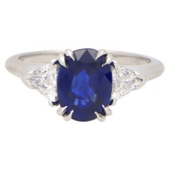 Certified Vintage Harry Winston Sapphire and Diamond Engagement Ring in Platinum