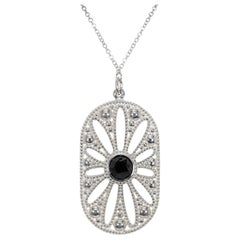 Tiffany & Co Ziegfeld Onyx Pearl Sterling Silver Pendant Necklace