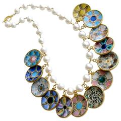 Baroque Pearl Miniature Majolica Oyster Plates Charm Necklace