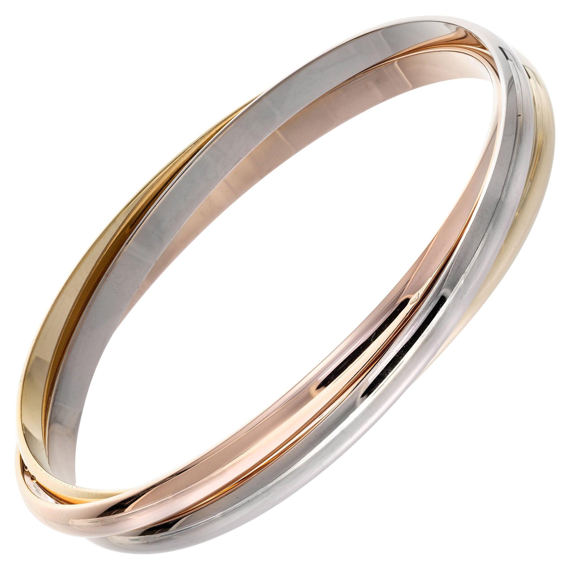 Cartier Tri-Color Gold Trinity Rolling Bangle Bracelet