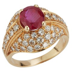Certified Burmese Ruby & Diamond Men's Ring
