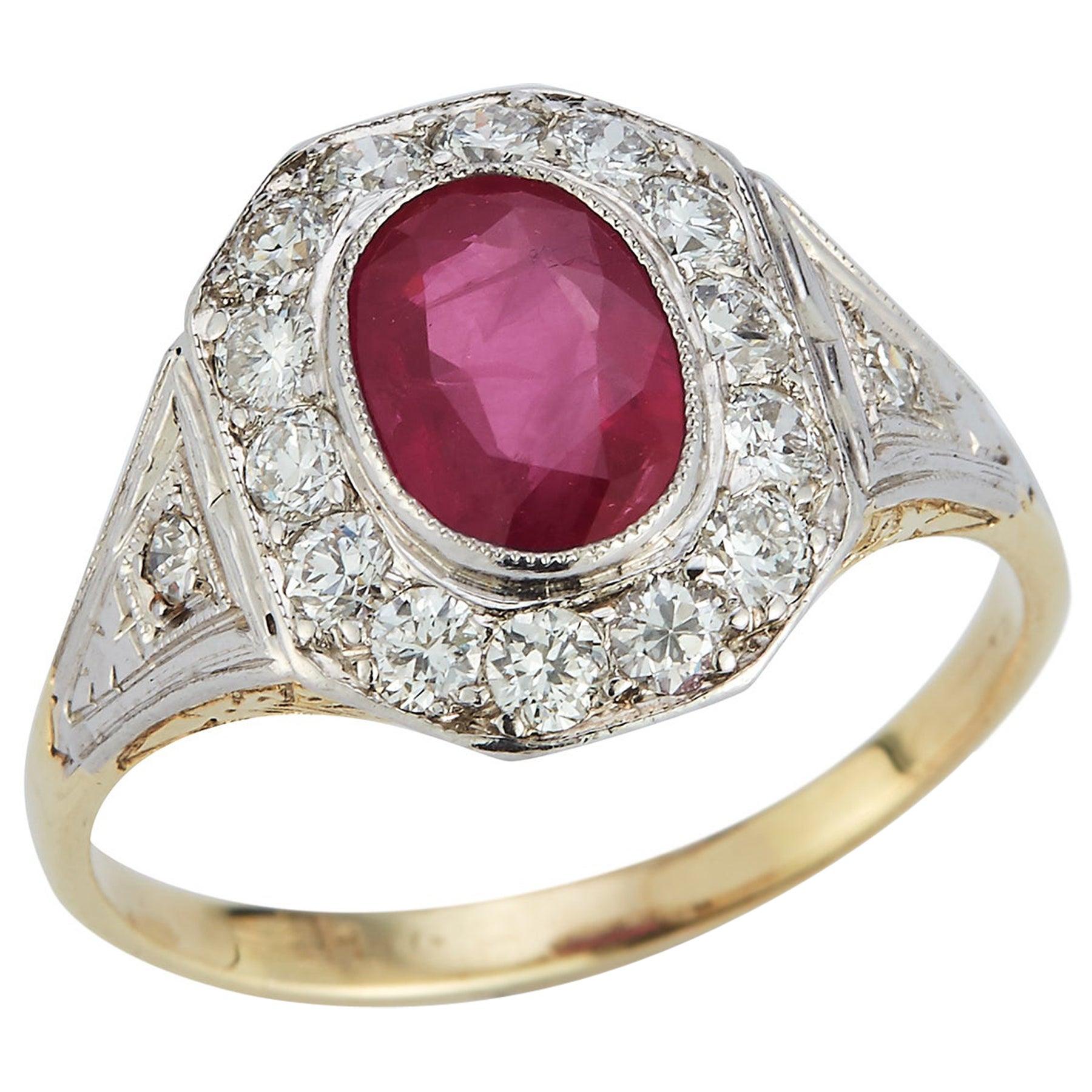 Certified Ruby & Diamond Ring