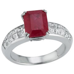 Certified Burmese Ruby & Diamond Solitaire Ring