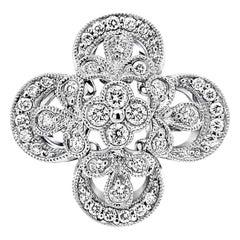 Italian 18 Karat Gold Flower Motif Diamond Ring