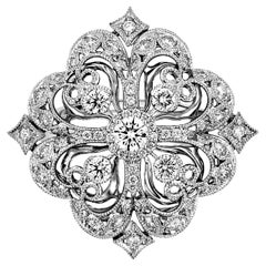 Italian Designer 18 Karat White Gold Flower Motif Diamond Ring