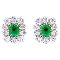18 Karat White Gold 6.80 Carat Natural Emerald and Diamond Cluster Stud Earrings