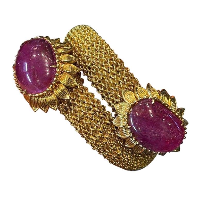 Cabochon Ruby Gold Mesh Bracelet  For Sale
