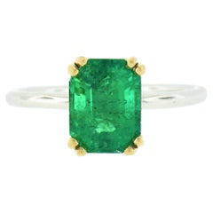 New 18k Gold and Platinum GIA 2.18ct Colombian Emerald Solitaire Engagement Ring
