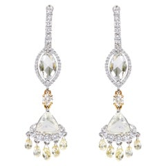 Platinum 6.96 Carat Diamond Lever-Back Drop Earrings