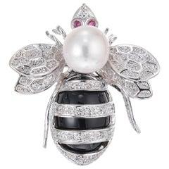 .8 Carat Diamond Ruby Pearl White Gold Bee Brooch