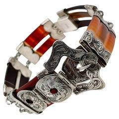 Vintage Victorian Style Scottish Agate & Sterling Silver Link Buckle Bracelet