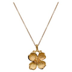 Vintage Tiffany & Co. 18K Gold Dogwood Flower Pendant Necklace with Gold Chain