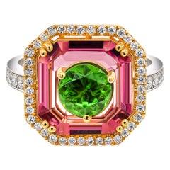 Russian Demantoid & Pink Spinel Ring, 18k White Gold Diamonds Ring