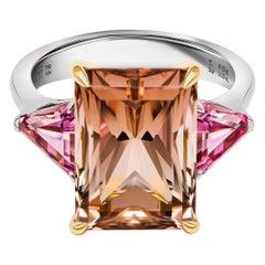 Cognac Tourmaline & Pink Spinels Ring, 18k White Gold Tourmaline & Spinels