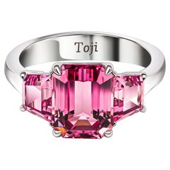 Pink Spinels Ring, 18k White Gold & Pink Spinels Ring
