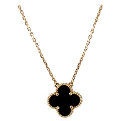 Van Cleef & Arpels Onyx Alhambra Pendant Necklace