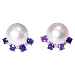 3.2 Ct Purple Sapphire, South Sea Pearl and Diamond Earring in 18k White Gold