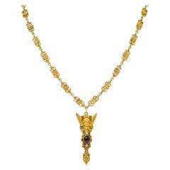1880's Victorian Demantoid Garnet Diamond Ruby 14 Karat Gold Statement Necklace