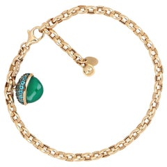 18kt Rose Gold Les Bois Bracelets with Green Onix and Blue Paraiba