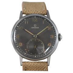 Omega Stainless Steel Radium Dial Calatrava Wristwatch