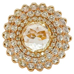 Rose & Round Brilliant Cut Diamond Flower Cocktail Ring