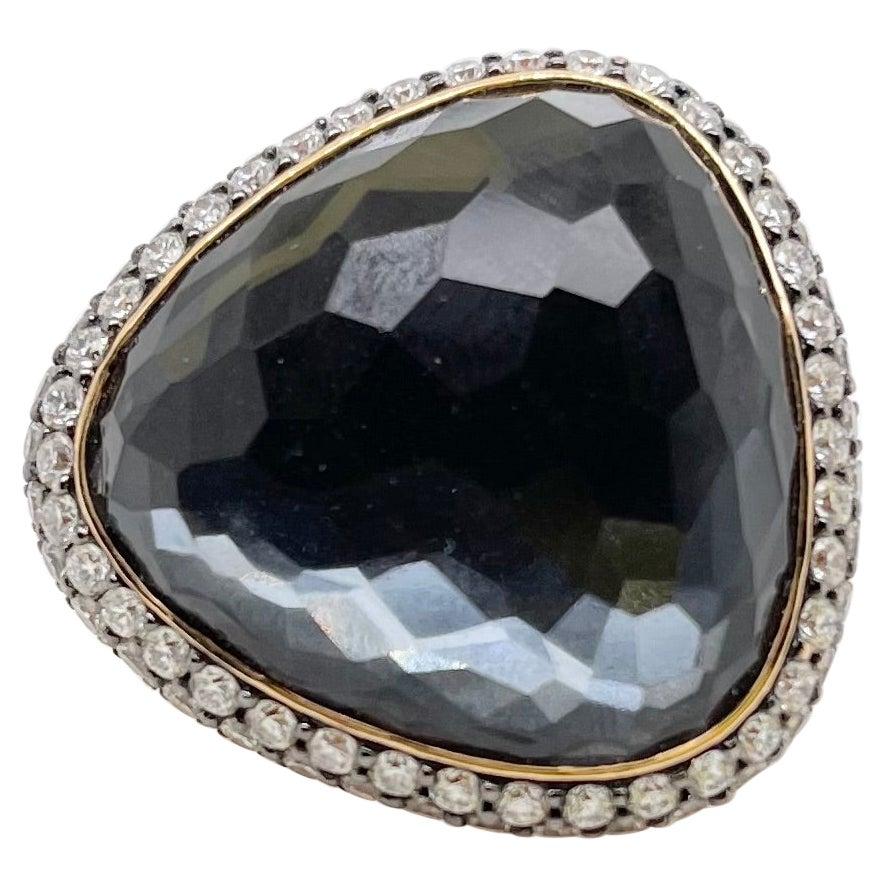 18kt Yellow Gold Hematite, White Topaz & Diamond Cocktail Ring