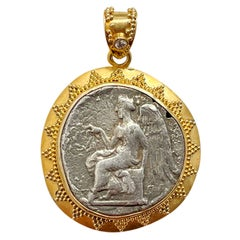 Ancient Greek 5th Century BC Nike Coin Diamond 22K Gold Pendant