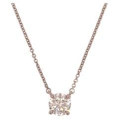 Vintage Tiffany & Co. Diamond & Platinum Solitaire Pendant Necklace